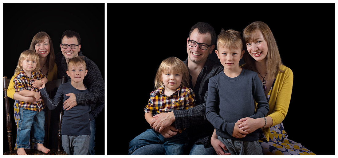 A diptych of a family of four on a black background