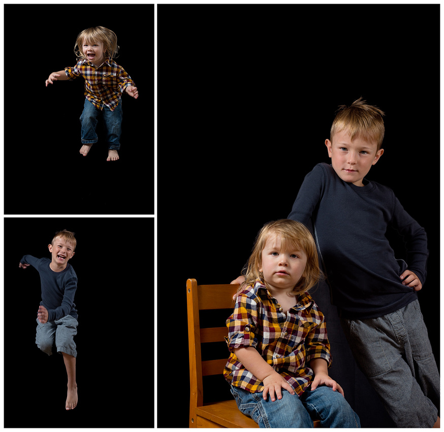 a triptych of brothers showing fun sides and serious sides.