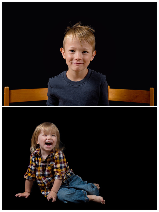 A diptych of stunning images of two young brothers during their in-home, studio style photo session with Tanis Saucier Photography