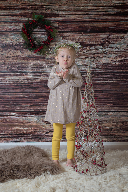 a sweet young girl in a winter scene during holiday mini sessions with Tanis Saucier Photography in Montreal