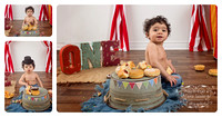 Collage of one-year-old Baby Boy with a Tophat Milestone with Donuts on an Upturned Bucket