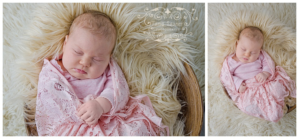 Baby girl asleep in a basket of soft faux fur during her newborn session with Tanis Saucier Photography.
