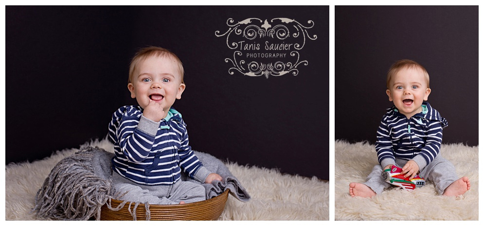 A sweet boy plays in a basket and plays with a ball during his photo session with Tanis Saucier Photography