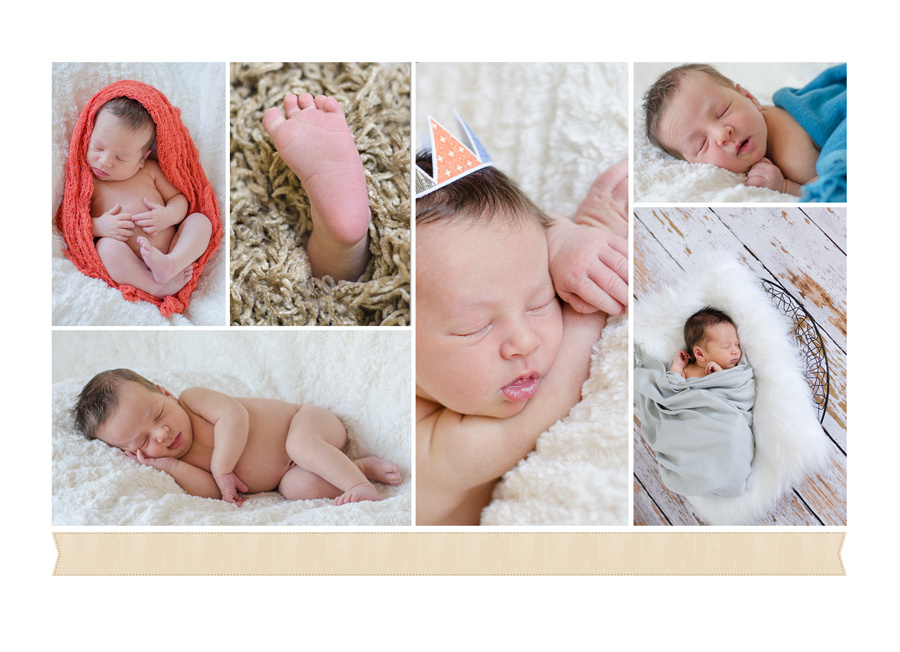 A collage of a newborn baby boy