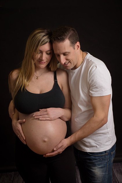 A beautiful couples maternity portrait captured in Montreal with Tanis Saucier Photography
