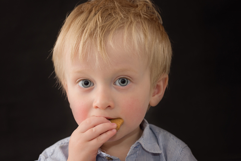 A sweet 18 month old, wide-eyed boy enjoys a cookie during his Milestone Portrait Session with Tanis Saucier Photography in Montreal.