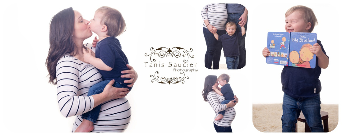 A beautiful set of images of a 2 year old boy and his pregnant mother cuddling together at the studio maternity session with Tanis Saucier Photography. #montrealmaternityphotographer#babybump #tanissaucierphotography