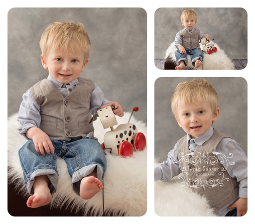 Collage of one-year-old Sitting on White Flokati on Grey Background