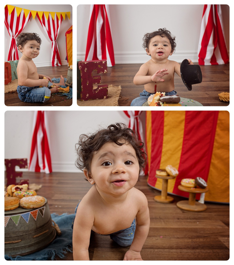 Collage of one-year-old Baby Boy Wearing Jeans Circus-Themed Donut Smash with Tanis Saucier Photography in Montreal.