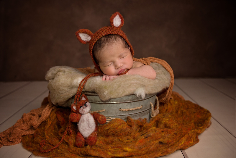 a gorgeous image of a newborn baby girl wearing a fox bonnet in a fall set up during her newborn portrait session with Tanis Saucier Photography in Montreal, Quebec. http://www.tanissaucier.com