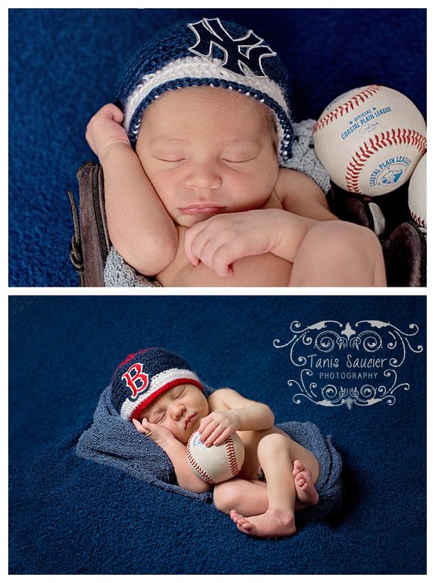 a sweet image of a newborn baby boy sleeping in a baseball mitten.