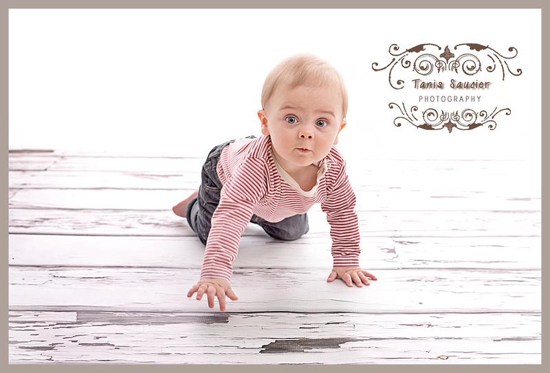 A sweet baby boy of 10 months crawling around in his studio photo session in Montreal with Tanis Saucier Photography